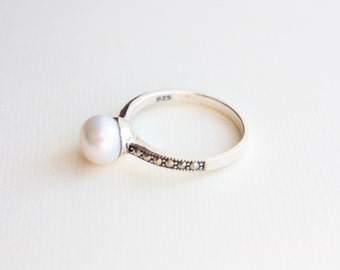 Marcasite Pearl Ring, Freshwater White Pearl, Button Pearl, Brides, Bridesmaids, Weddings, Sterling Silver, Made to Order