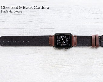 The Field Strap for Apple Watch - Chestnut and Black Cordura With Black hardware 42mm