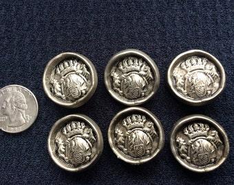 "6 Pewter Metal Buttons Shanks 1 1/16"" Designer Detailed"