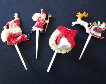 Vintage Christmas Vintage Serving Christmas Picks Santa Claus Sleigh Bottle Brush Wreath Made In Hong Kong Made In Japan Craft Picks N6