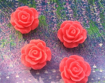 20pcs  20.5mm hot pink rose flower resin cabs/resin flower cabs