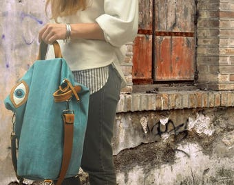 Handmade convertible ,backpack,shoulder ,cross body bag ,in canvas-leather,named MATI