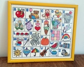 ABC Alphabet Framed Embroidery Yellow Wall Hanging