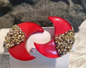 Art Deco Red Clip Earrings