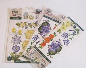 Folk Art Scrap Book Decals, Paper Arts, Flower Decals, Appliques
