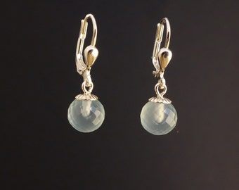 Aqua chalcedony silver earrings