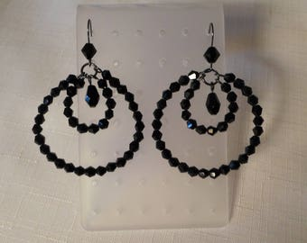 BLACK HOOP EARRINGS / Pierced / Glass Beads / Retro / Classic / Modernist / Hip / Fashionista / Wedding / Prom / Chic / Mod / Accessories