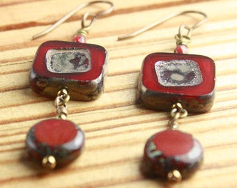 EARRINGS with Matching Necklace and Bracelet Available Red, Ivory, Brass