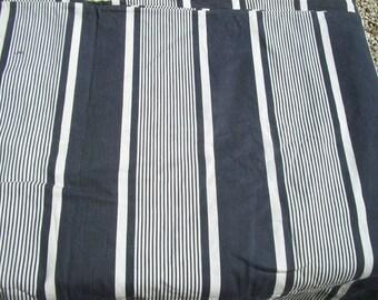 Panel of Vintage French 1930s Striped Ticking Fabric Herringbone Indigo Blues
