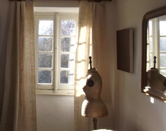 Pair Beautiful Antique French Drapes Unbleached Oatmeal Hemp Linen Curtains