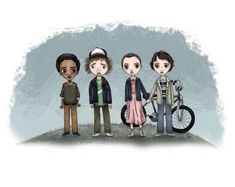 Stranger Things - Lucas, Dustin, Eleven & Mike - 5 x 7 Illustration Print