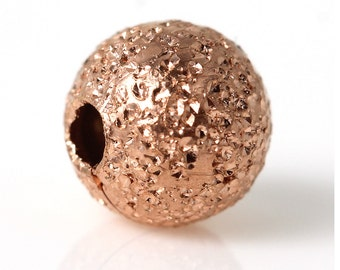 4mm - 100pcs. Rose Gold Plated Stardust Ball Spacer Beads