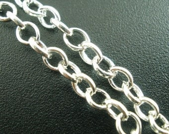 4M (13.12 Ft) - Antique Silver Rolo Chain - 3.8mm Links - Link-Opened Chain