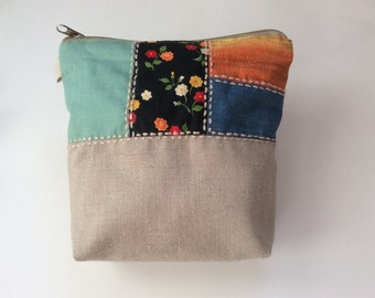 Fabric Cosmetic Bag - quilted bag-fabric bag Quilted Makeup Bag - Quilt Zipper Pouch Clutch Purse