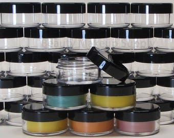 25 BMS Cosmetic Jars Plastic Beauty Containers - 10 Gram (Black Lids) 5068-25   FREE US shipping