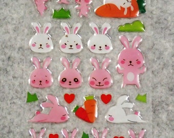 Mixed Cute PVC Strong Bunny Rabbit Stickers