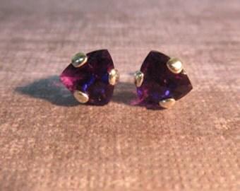 Amethyst Earrings - 8mm Trillion Amethyst Post Earrings - Amethyst & Sterling Silver Earrings