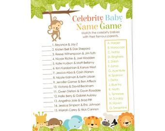 celebrity baby name game baby shower game with safari animals monkeylion elephant