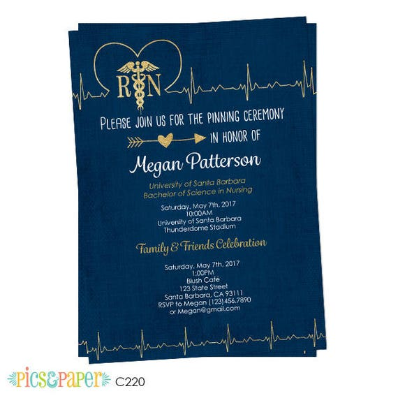 Nursing School Graduation Invitation Pinning Ceremony – Medical School Graduation Invitation