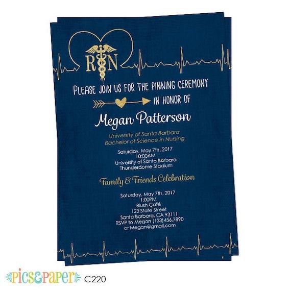 Nursing School Graduation Invitation Pinning Ceremony