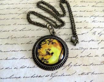 Antique Bronze Moon Vintage-Inspired Round Cabochon Pendant Necklace