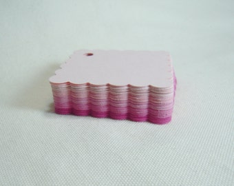 Pink Gift Tags, Shades of Pink Gift Tags, Scalloped Square Gift Tags, Shades of Pink Tags, Set of 60 Tags