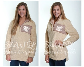 Ivory/Tan or Ivory/Ivory Sherpa Pullover - Monogrammed - Personalized Pullover - Fuzzy Jacket