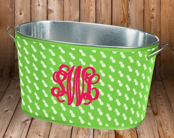Personalized Drink Tub - Monogrammed Cover - Housewarming Gift - Wedding Shower Gift - Party Tub - Sand Dollar - Pineapple - Coral
