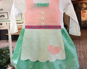 READY TO SHIP Aqua and Pink baby dirndl (holiday dress)