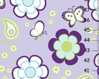 Pretty Flowers Butterflies and Paisleys in Lavender purple and green-  Girls Personalized Growth Chart