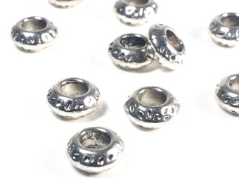 Large Hole Beads, Antique Silver Pewter Rondelles, Extra Large Hole Metal Beads, 5x11mm, 5mm Hole, Lot Size 8 to 30, #1367 BH