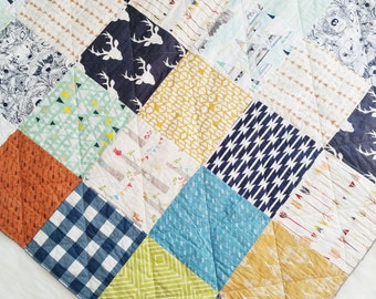 SALE // Woodland quilt, minky baby blanket, Ready to Ship