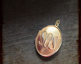 Antique medallion SOS secret golden locket pendant - great item for jewelry, mixed media or assemblage