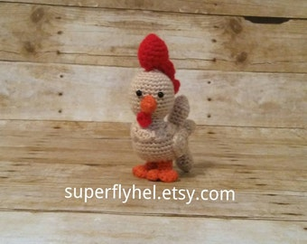 Rooster Stuffed Animal, Rooster Amigurumi, Chicken Plushie, Brown Rooster Stuffie, Farm Animal Toy, Chicken Farmer, Rooster