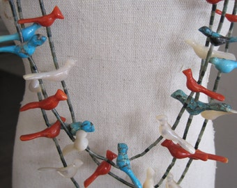 Vintage Sterling Turquoise Coral MOP Bird Fetish Necklace