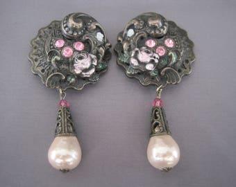Vintage Antique Brass Rhinestone Pearl Dangling Earrings
