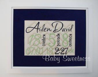First Time Parent Gift - Framed Birth Announcement - Embroidered Subway Art - Chevron Nursery - 8X10 Canvas - NewBorn Keepsake Art Gift