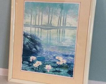 Kravjansky etching - framed and matted, pastel