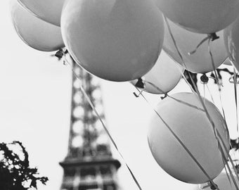 Balloons in PARIS Photo, Black and White Paris Photography, Balloons and Eiffel Tower Photo, Paris Photography, Paris Love, Eiffel Tower