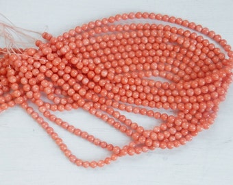 5mm  Salmon Coral round beads , full strand (16 inches)
