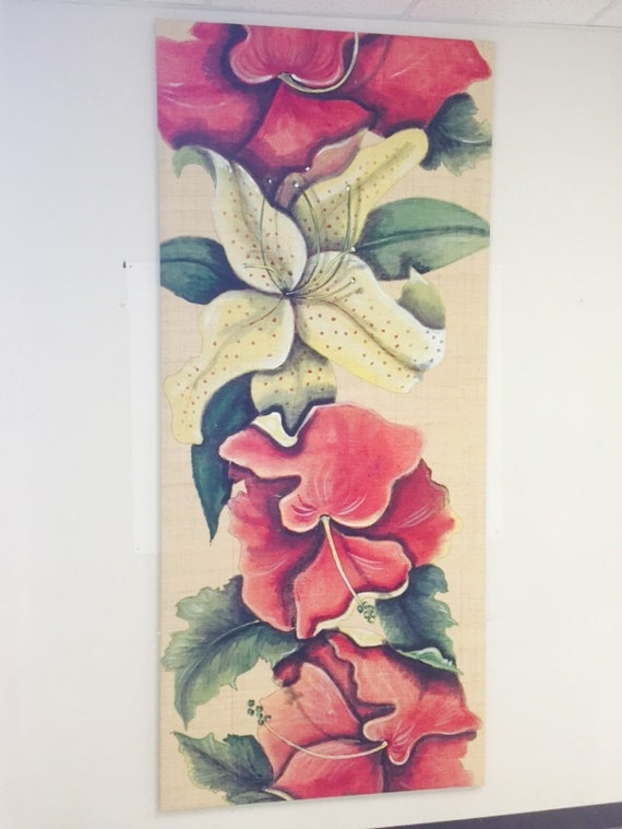 Large (limited) Hibiscus Painting on Stretched Raffia