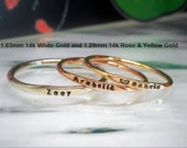 Tiny Letters 14k Solid Gold Personalized Skinny Stacking Ring 1mm Font Choose Yellow Rose or White Gold Add a Design to Your Band Heart Star
