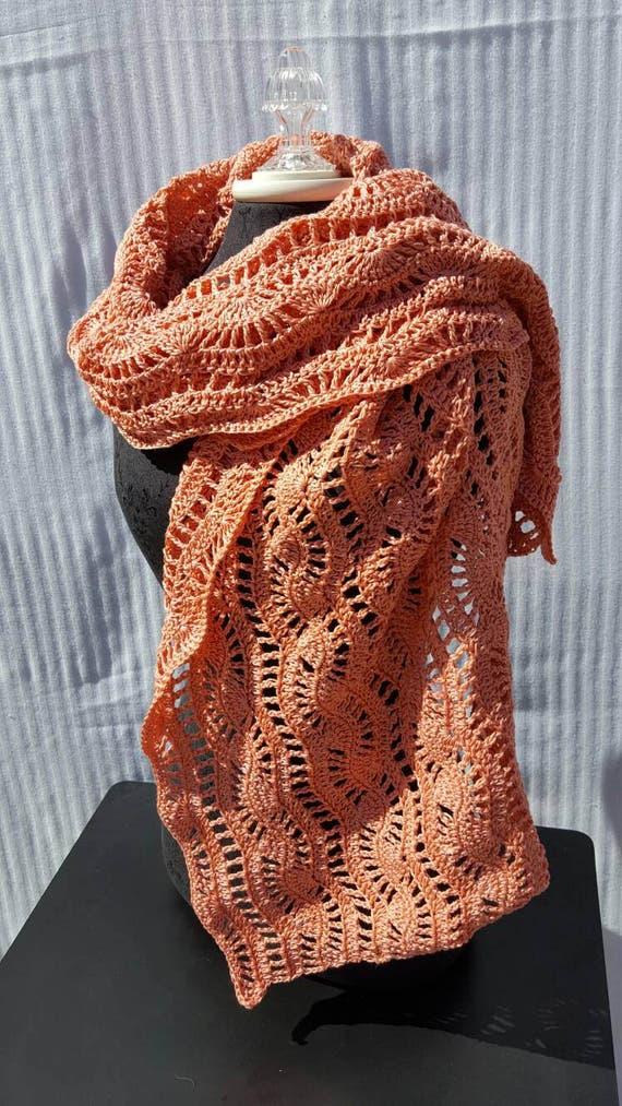 Pretty in peach hand crocheted wedding shawl, bridesmaids shawl, wedding wrap
