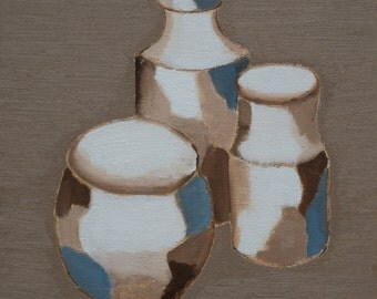 Three earthenware vessels still life