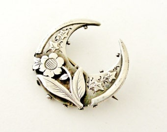 Victorian sterling silver sweetheart brooch sunflower and crescent moon 1889