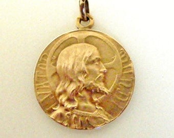 Antique art nouveau 18k gold filled Jesus and Mary with infant Christ medal
