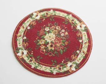 Dollhouse Miniature Round Red Floral Rug
