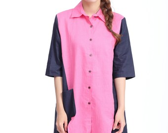 Patchwork Linen Shirt with 1/2 Sleeve/Asymmetrical/More Color Schemes/ RAMIES