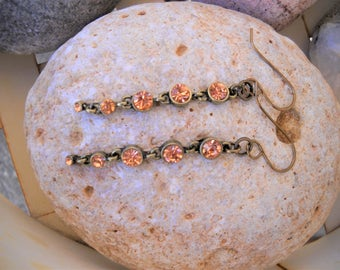 Vintage Style Antique Brass and Peach Rhinestones Dangle Earrings