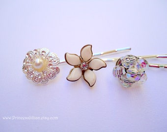 Vintage earring hair bobbies - Dainty silver sparkly crystal beaded cluster white milk glass flower pearl jeweled embellish hair accessories